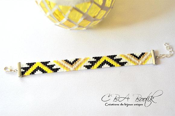 Bracelet tissé triangle jaune