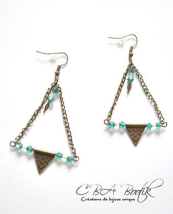 Boucles d'oreilles bronze, vert emeraude et rose