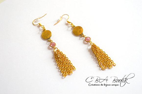 Boucles d'oreilles doré & rose