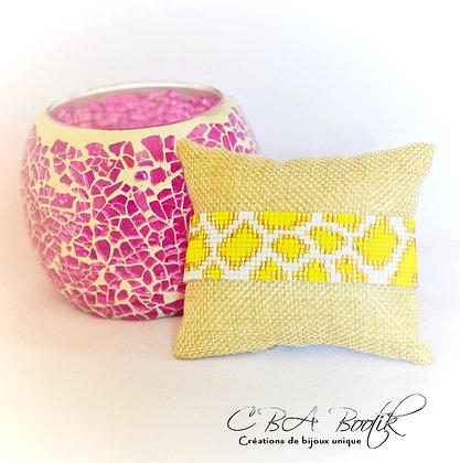 Bracelet tissé Léopard jaune