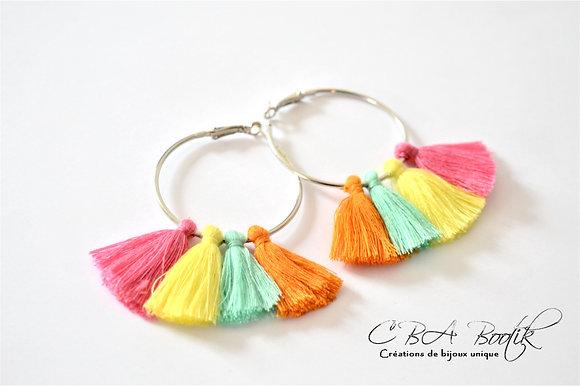 Boucles d'oreilles créole et pompons