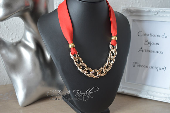 Collier chaine gros maillons, rouge