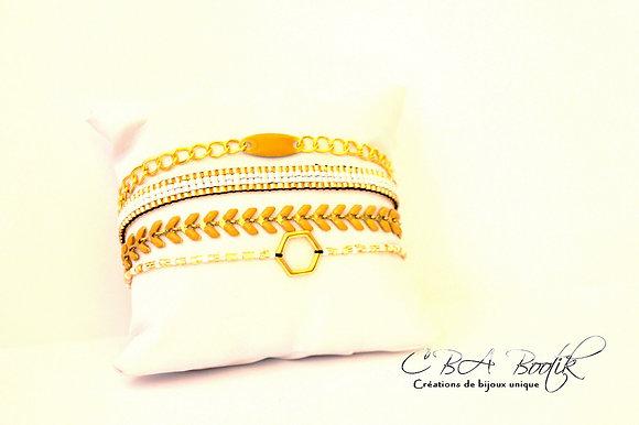 Bracelet jaune et doré