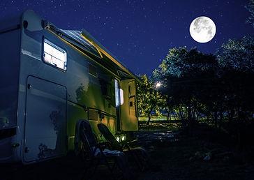 Summer Night RV Camping. Recreational Ve
