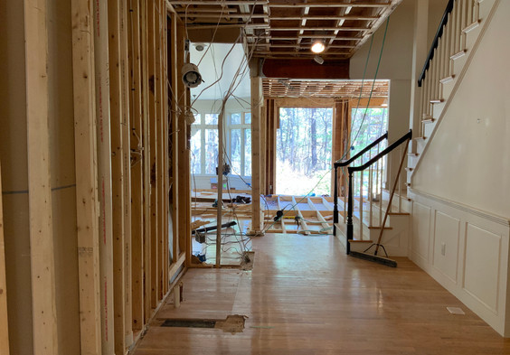 View of newly expanded Hallway and raised subfloor.