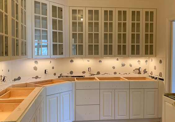 Butler's Pantry is ready for new backsplash and counters.