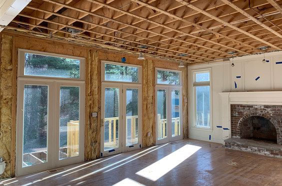 Wall of windows in the Family Room