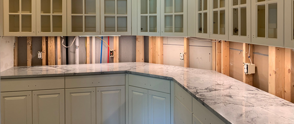 Hidden Pantry with countertop installed.