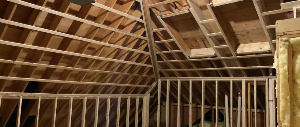 New skylight framework in the Attic.