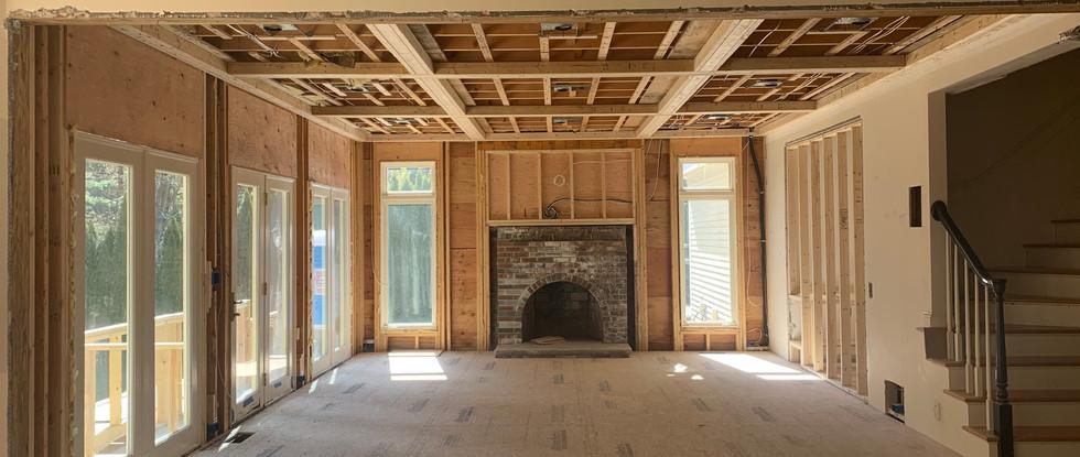 Framework for new fireplace surround has begun.