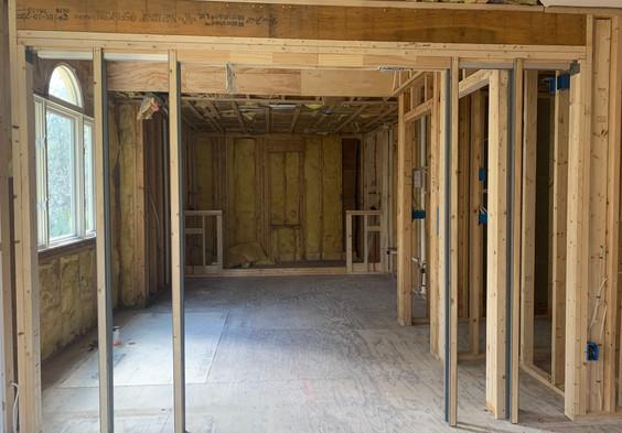 Framework has begun for the Master Bath pocket doors.