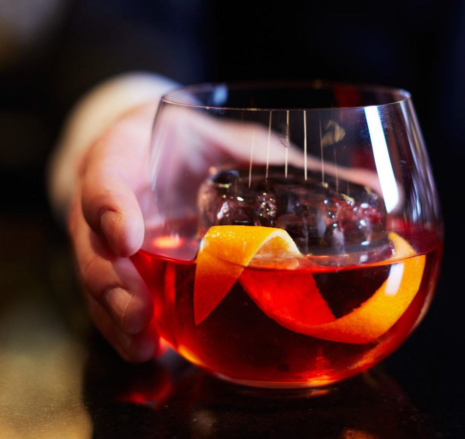 Sweet, bitter and herbal, the classic version of Negroni cocktail calls for equal parts of gin, Campari and sweet vermouth.