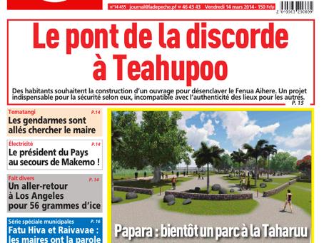 Papara : Bientôt un parc à la Taharu'u