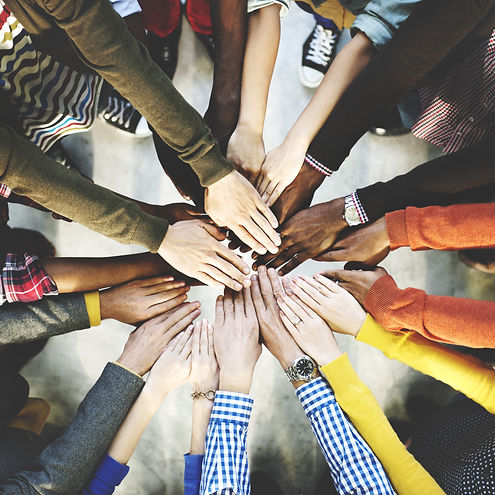 Group of Diverse Hands Together Joining