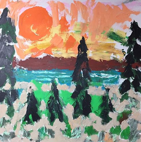 192- 4 octobre au lac Masketsi. Acryliqu