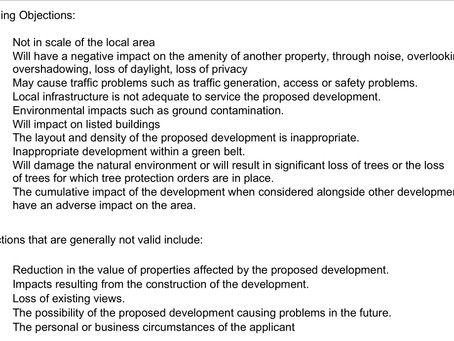 VALID PLANNING OBJECTIONS