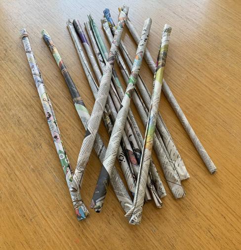 Make several newspaper sticks.jpeg