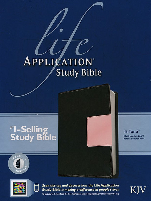 KJV Life Application Study Bible, TuTone Black/Patent Leather Pink Indexed Leath