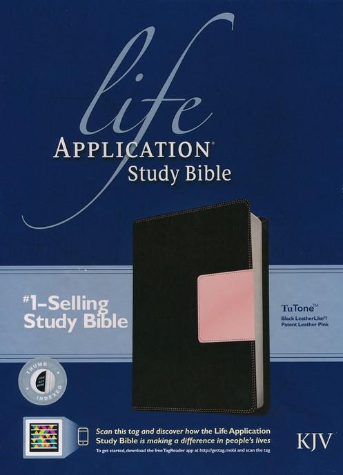 KJV Life Application Study Bible, TuTone Black/Patent Leather Pink  Leatherlike