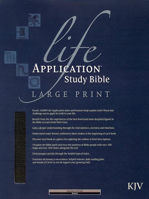 KJV Life Application Study Bible, Large Print, Bonded leather, black, Thumb-Inde