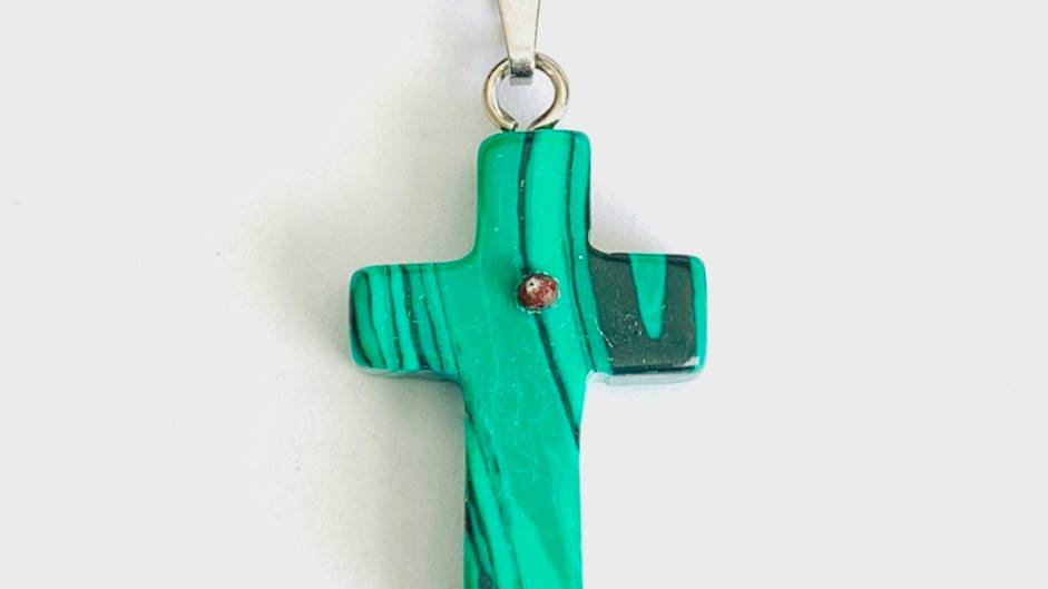 Mustard Seed Cross Pendant (Green Malachite)