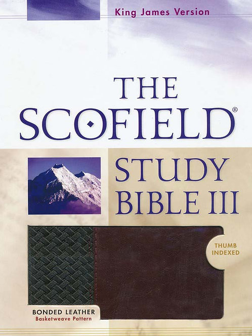 KJV, The Scofield Study Bible III, Basketweave BK/BG, Bonded Leather, Thumb-Inde