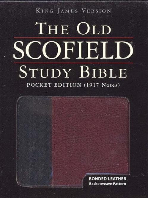 KJV Old Scofield Pocket Bible Bonded Black & Burgundy
