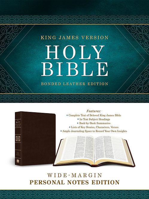 KJV Wide-Margin Personal Notes Bible, Bonded Leather, Dark Brown