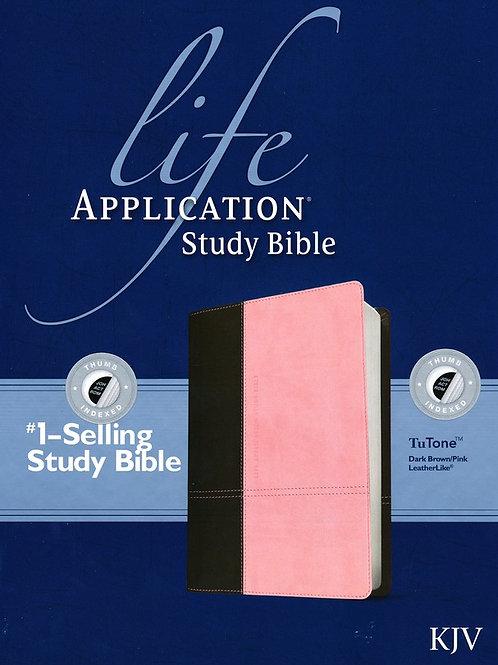 KJV Life Application Study Bible, TuTone Dark Brown/Pink Indexed Leatherlike