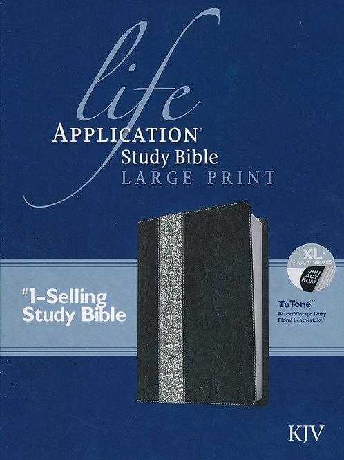 KJV Life Application Study Bible, Large Print Black/Vintage Ivory Floral Leather
