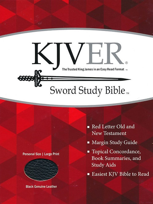 KJVer (Easy Reader) Large Print Sword Study Bible, Personal Size, Genuine Leathe