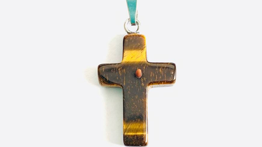 Mustard Seed Cross Pendant (Tigers Eye)