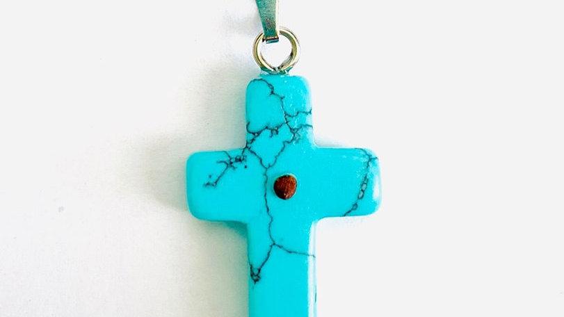 Mustard Seed Cross Pendant (Simulated Turquoise)