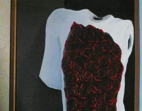 LE RÊVE DU POÈTE N°17 ///////////////////////////////////  Hommage à Magritte  Huile sur toile de lin  encadrée, 80x100cm ///////////////////////////////////  Stéphanie Carraro, l'Atelier de La Paloma Blanche.