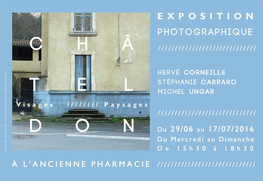 CHÂTELDON,  VISAGES & PAYSAGES  //////////////////////////////////////  Affiche Poster d'Exposition & Dossier de Presse  ///////////////////////////////  Atelier en Résidence de Photographie  pour la Commune de Châteldon, Allier France  ////////////////////////////////  Stéphanie Carraro, l'Atelier de La Paloma Blanche.