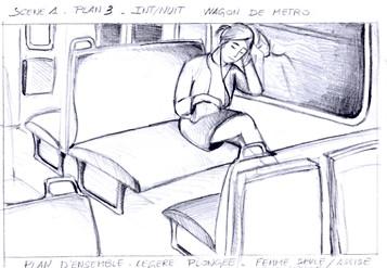 STORY-BOARD /////////////////////  Croquis Photogramme  sur papier dessin  Court-métrage institutionnel  I.N.F.P.N, Ministère de l'Intérieur ///////////////////// Stéphanie Carraro, l'Atelier de La Paloma Blanche.