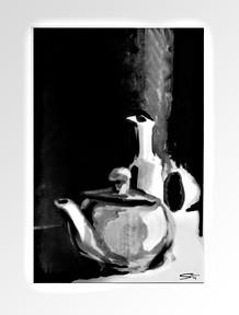 NATURE MORTE  ///////////////////////////  Étude en Monochromme Acrylique  sur papier à grain A4  ///////////////////////////  Stéphanie Carraro, l'Atelier de La Paloma Blanche.