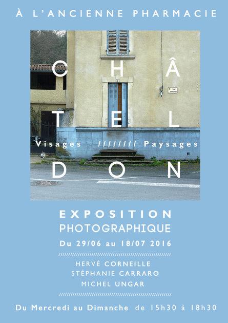 CHÂTELDON,  VISAGES & PAYSAGES  //////////////////////////////////////  Affiche Poster d'Exposition & Dossier de Presse  /////////////////////////////////////  Atelier en Résidence Photographique  pour la Commune de Châteldon, Allier France  //////////////////////////////////////  Stéphanie Carraro, l'Atelier de La Paloma Blanche.