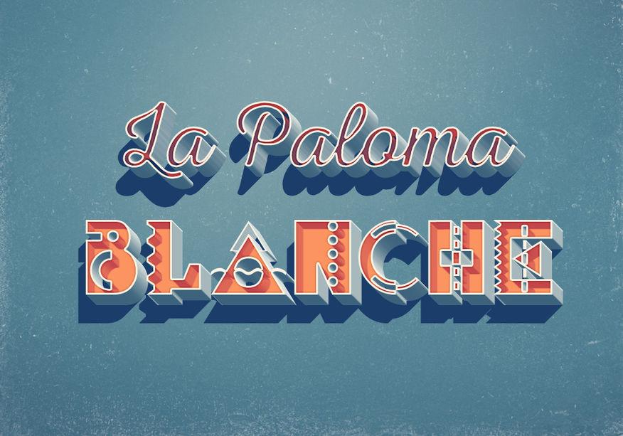 LA PALOMA BLANCHE  /////////////////////////////////////  Réalisation Typographique 3D Adobe Photoshop  ////////////////////////////////////  Stéphanie Carraro, l'Atelier de La Paloma Blanche.