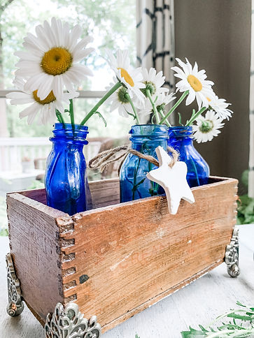 Bromo Seltzer Jars with Daisies