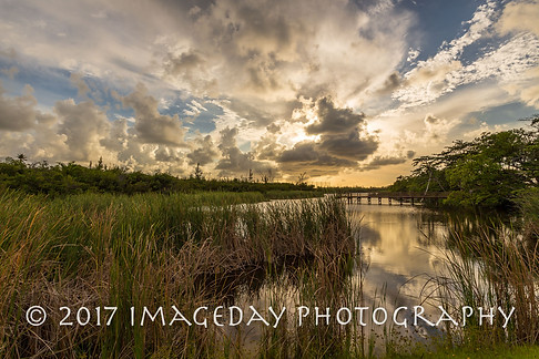 Sunset over the Baha Mar lake, Nassau, Bahamas