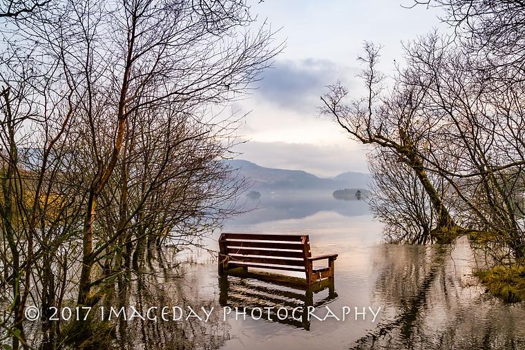 Reflections on the bench, Derwentwater Cumbria