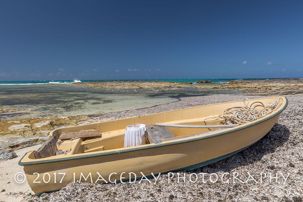 Fishing boat at low tide, Nassau, Bahamas