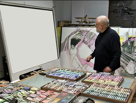 Artist Tenold Peterson in his studio