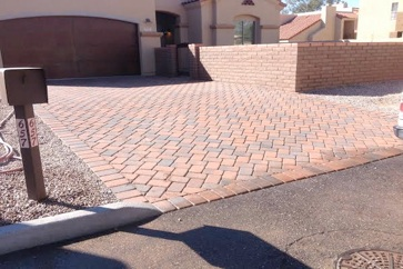 Red brick paved