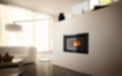 Los insertables son calefactores a leña o pellet que se insertan en la pared. Son seguros y estancos.