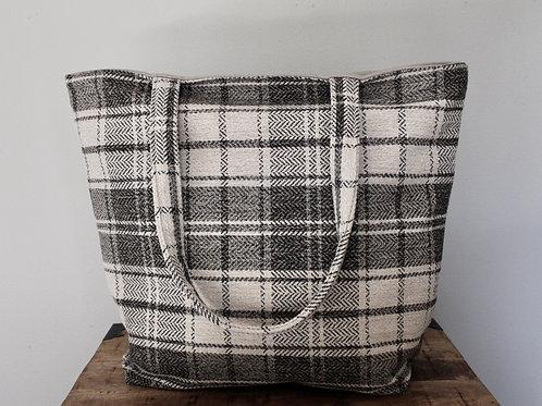 Cream Tartan Plaid Frances Tote Bag