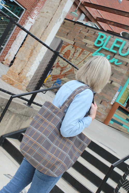 Taupe Tattersall Plaid Frances Tote Bag