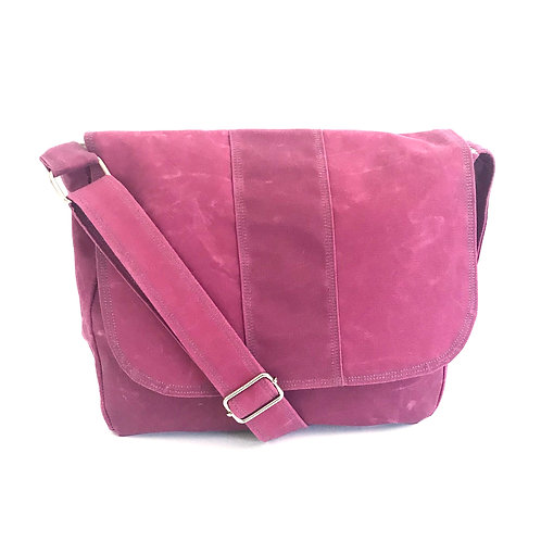 Waxed Canvas Raspberry Janie Messenger Bag with Starburst