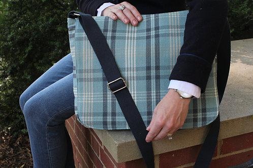 Collegiate Blue Tartan Plaid Molly Messenger Bag